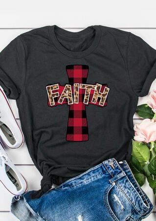 Faith Cross Christ Plaid Leopard Printed T-Shirt Tee - Gray