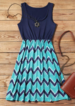 Zigzag Printed Fashion Mini Dress - Navy Blue