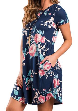 Floral O-Neck Pocket Mini Dress