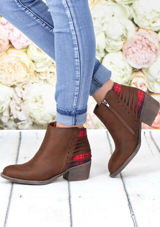 Plaid Splicing Zipper Round Toe Ankle Boots