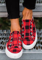 Plaid Slip On Round Toe Flat Sneakers - Red