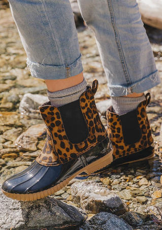 Waterproof Leopard Printed Round Toe Ankle Boots