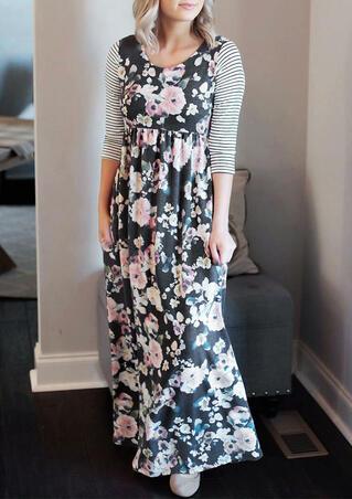 Floral Striped Splicing Pocket Maxi Dress - Dark Grey