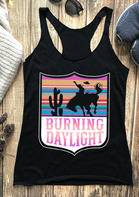 Cactus Burning Daylight O-Neck Casual Tank