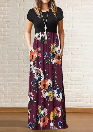 Floral Pocket Maxi Dress without Necklace - Burgundy