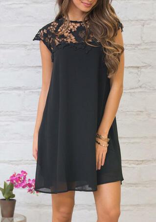 Floral Lace Splicing Hollow Out Mini Dress - Black