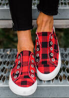 Plaid Slip-On Round Toe Flat Sneakers - Red