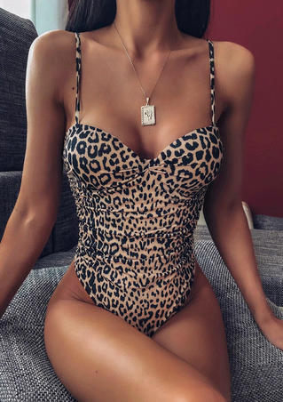 Leopard Printed Ruffled One-Piece Swimsuit without Necklace