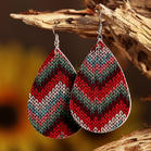 Colourful Striped Water Drop Shaped Bohemian Leather Earrings