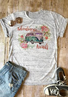 Adventure Awaits Floral T-Shirt