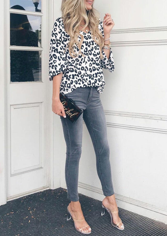 Cow Printed V-Neck Blouse without Necklace - White