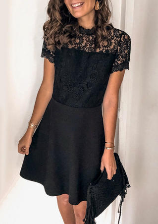 Lace Splicing Open Back Mini Dress - Black