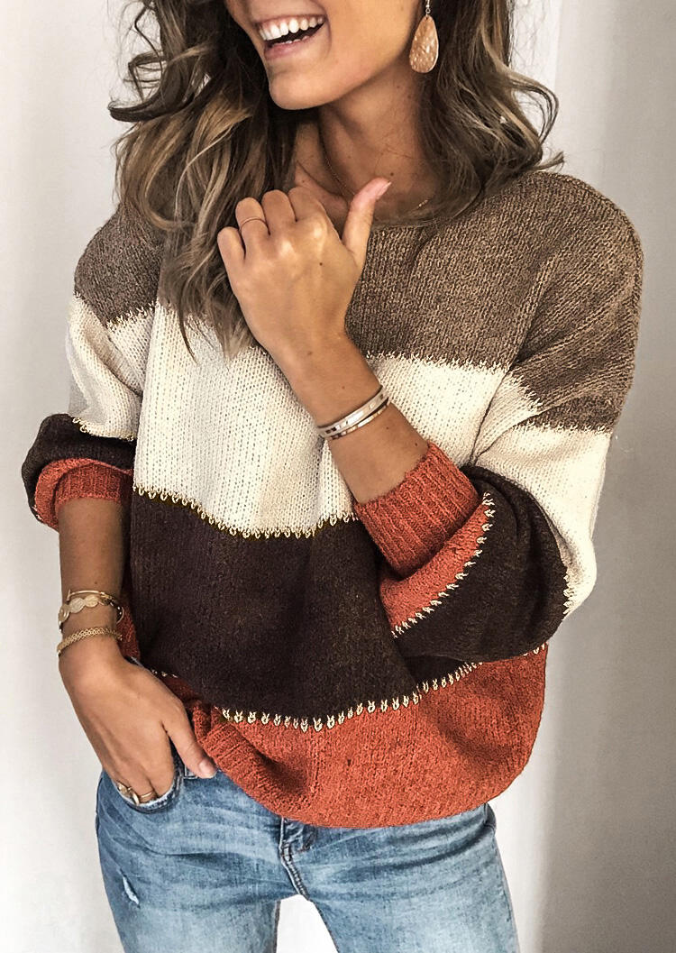 Color Block Splicing Sweater without Necklace