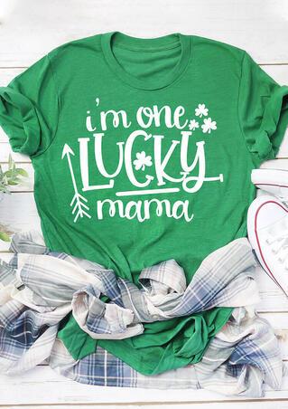 Shamrock I'm One Lucky Mama T-Shirt Tee - Green