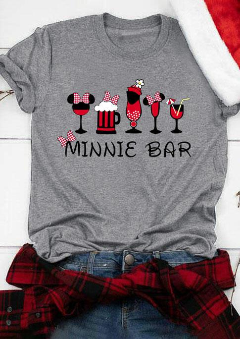 Plaid Printed Splicing Drink Bar T-Shirt Tee - Gray