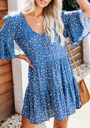 Polka Dot V-Neck Mini Dress - Blue