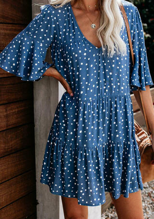 Flounce Sleeve Polka Dot V Neck Tiered Ruffled Babydoll Mini Dress - Blue
