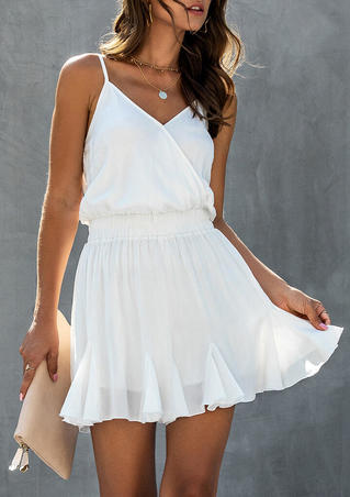 Ruffled Wrap Spaghetti Strap Mini Dress without Necklace - White