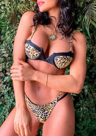 Leopard Printed Splicing Bikini Set without Necklace