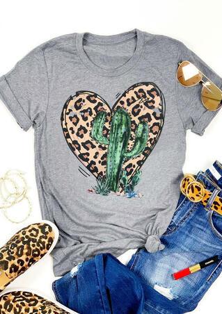 Leopard Printed Cactus Heart O-Neck T-Shirt Tee - Gray