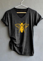 Summer Outfits Women Bee Short Sleeve V-Neck T-Shirt Tee - Dark Grey