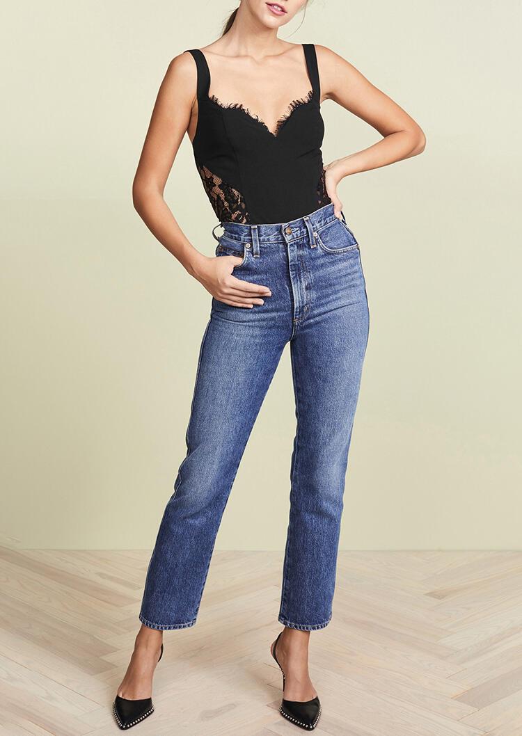 Lace Splicing Zipper V-Neck Camisole - Black