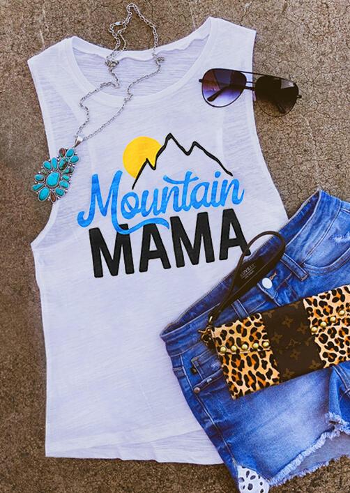 Mountain Mama Casual Tank - White