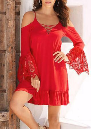 Lace Splicing Criss-Cross Ruffled Mini Dress - Red