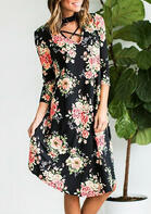 Floral Criss-Cross Halter Casual Dress