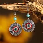 Vintage Turquoise Rhinestone Round Earrings