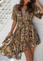 Summer Outfits Snake Leopard Irregular Ruffled Casual Dress