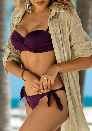 Ruffled Tie Low Waist Bikini Set - Purple