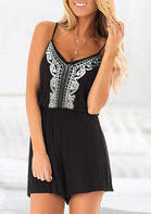 Summer Outfits Open Back Spaghetti Strap Romper - Black