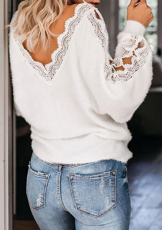 Lace Splicing Hollow Out Plush Blouse - White