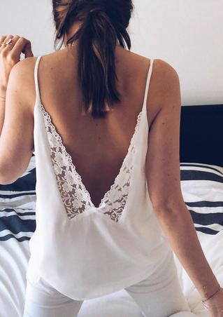 Lace Splicing Open Back Camisole without Necklace - White