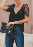 New Arrivals Lace Splicing V-Neck Blouse - Black