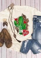 Stuck On You Cactus Leopard Printed T-Shirt