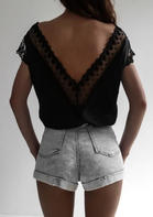 Summer Outfits Open Back Lace Splicing Deep V-Neck Blouse