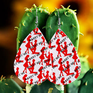 Marry Me Love PU Leather Earrings