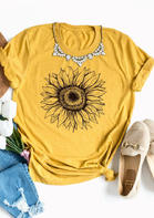 Sunflower O-Neck T-Shirt Tee without Necklace