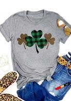 Plaid Leopard Printed Lucky Shamrock T-Shirt Tee - Gray