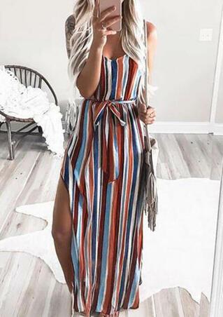 Colorful Striped Slit Spaghetti Strap Maxi Dress