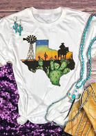 Summer New Arrivals Cactus Cowboy Texas Map T-Shirt Tee - White