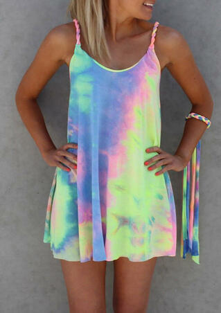 Colorful Tie Dye Twist Mini Dress without Bracelet - Multicolor