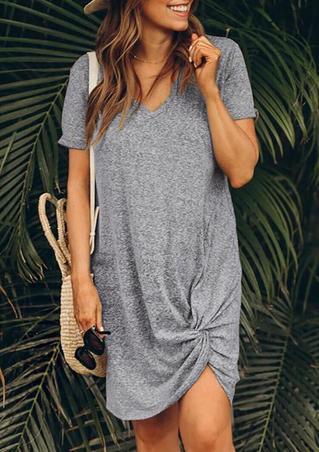 Twist V-Neck Mini Dress without Necklace - Gray