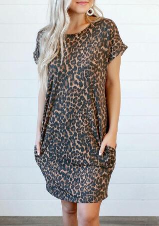 Leopard Printed Open Back Pocket Mini Dress