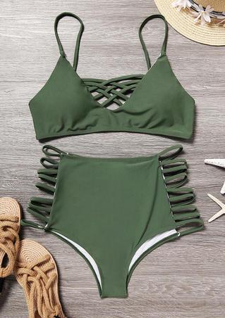 Criss-Cross Hollow Out Bikini Set - Green