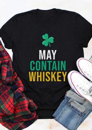 May Contain Whiskey Lucky Shamrock T-Shirt Tee - Black