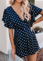 Summer Outfits Polka Dot V-Neck Romper