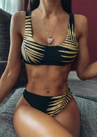 Summer outfits Leaf Mid Waist Bikini Set - Black